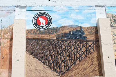 Mural depicting the Great Northern Railroad in Omak, Wa