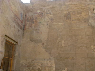 Note the Coptic Christian fresco from the 3rd century AD....they used the buildings for a church...