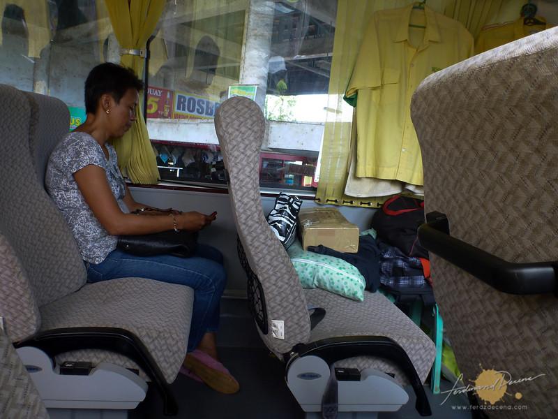 Leg room inside the aircon Roro Bus