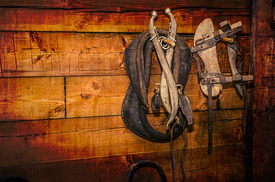 Tack inside the barn at Ft Nisqually.