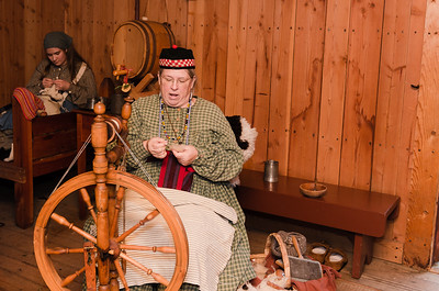 This lady was giving a wool spinning demonstration.