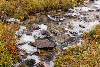 Another view of the melting overnight ice cover of the Hidden Lake Divide runoff stream.