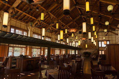 The recently refurbished Dining Room at Many Glacier Hotel, a nice evening refuge after days on the trails.