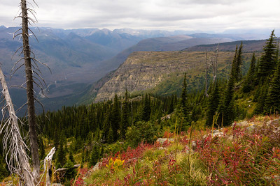 A view down into the McDonald Lake valley from the Highline Trail. This hiking day was the only one with stormy, overcast weather, but views were still excellent.