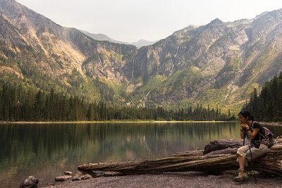 Alyssa contemplating Avalanche Lake