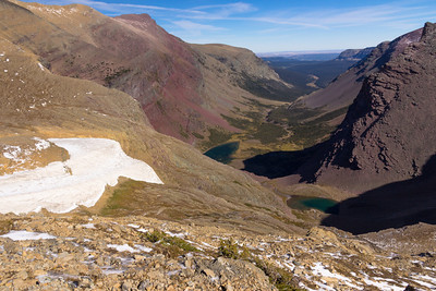 A view over Boulder Creek Valley from the col above Siyeh Pass.