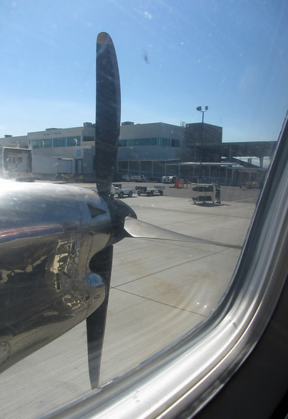 October 4, 2012.  Medford airport from my plane seat (it's a small plane).