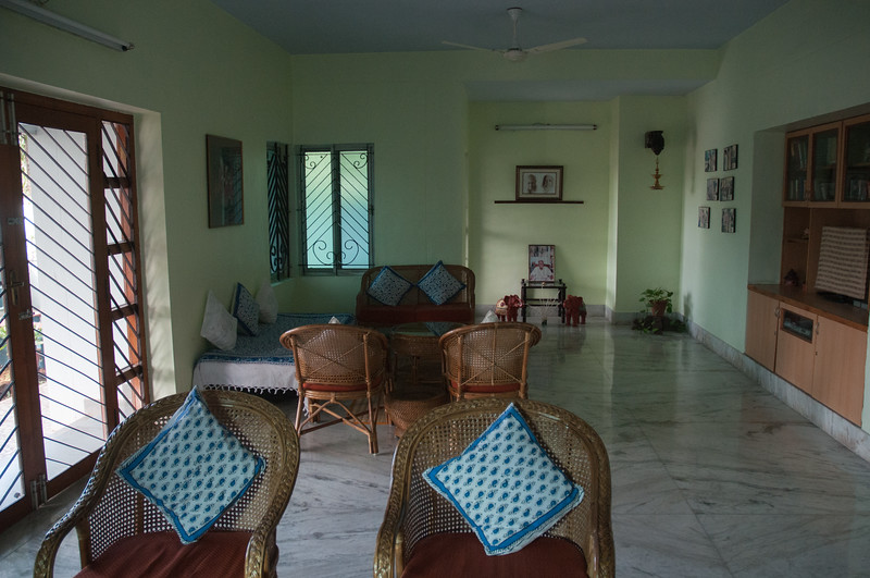 The Aravind Guest House, a block from the hospital. This is the common room.