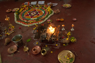 Materials for the ceremony's puja.