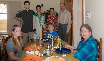 Breakfast with Rima and her parents. Wonderful masala dosa and sweets. Bangalore, India.