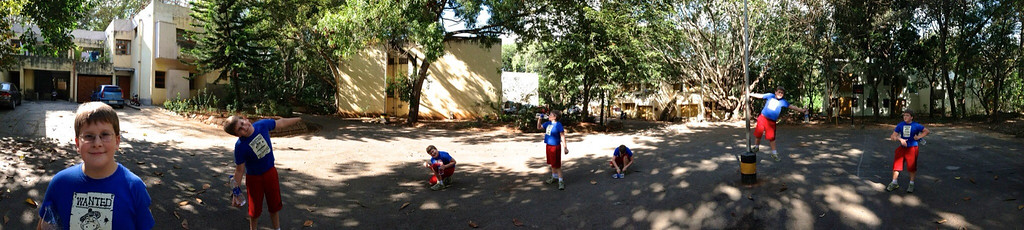 John took this panorama of Andy outside our former home at IISc. Bangalore, India.