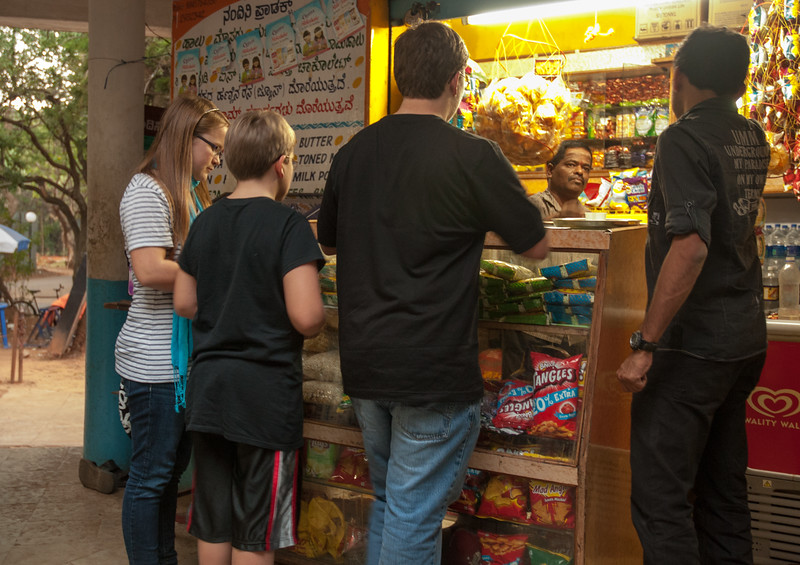 John, Mara, and Andy shop for snacks at their favorite shop on the IISc campus.