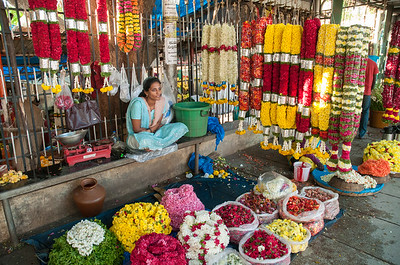 The flower market on Sampige Road is a colorful place.