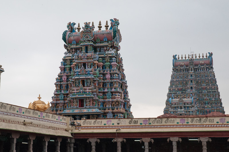 A closer look at two towers and the golden dome over Shiva's temple.