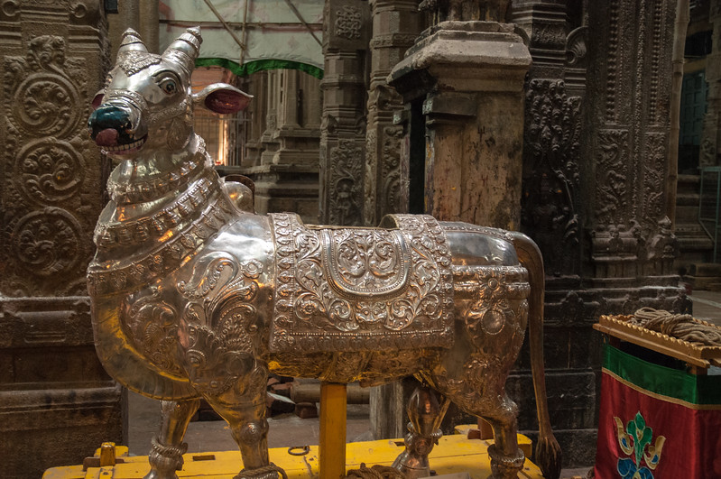 This metal-embossed bull is used nightly in moving the goddess idol (Parvati) from her temple into the god's temple (Shiva) - she is moved back to her own temple early the next morning.