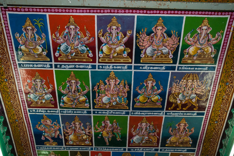 This new ceiling painting depicts 15 or more stories about Ganesha.