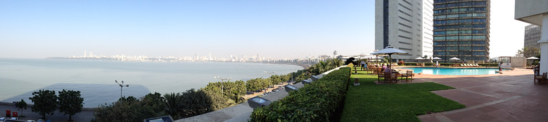 View from pool level of Trident Hotel, with sweeping view of the bay.