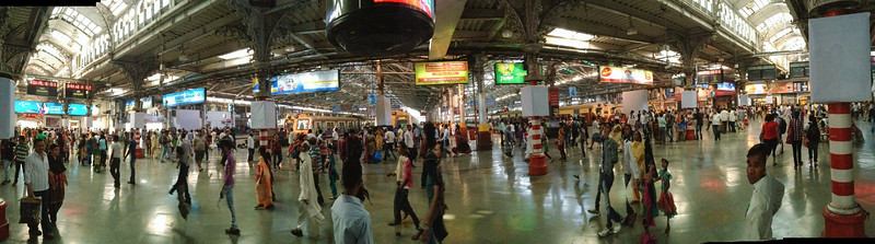 A panorama inside CST, the main train station in Mumbai. We visited on a quiet Sunday.
