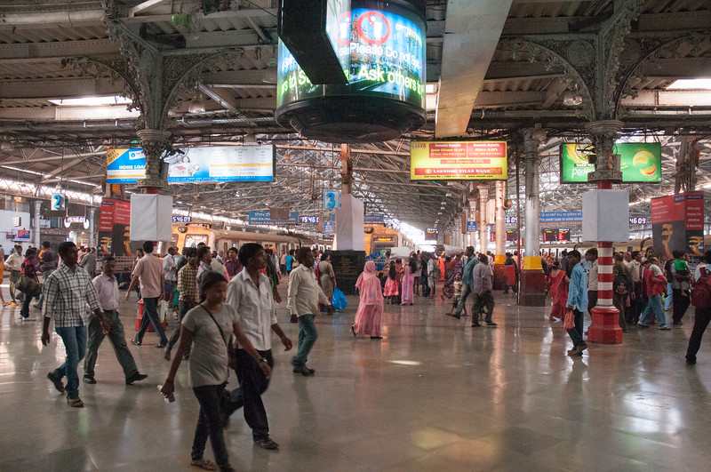 Inside CST, the main train station in Mumbai. We visited on a quiet Sunday; 3 million passengers pass through on a typical weekday.