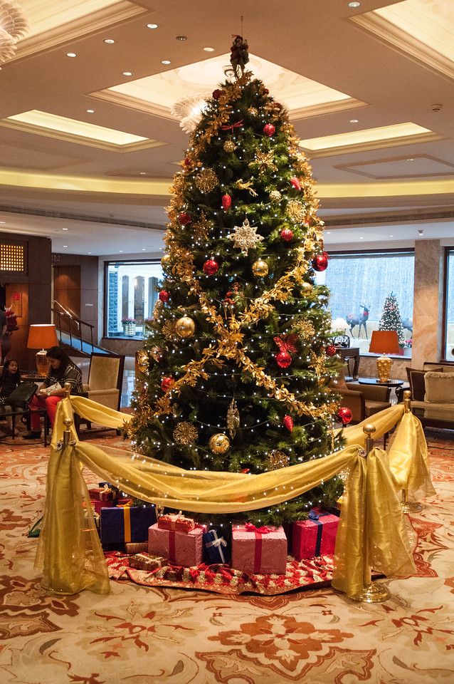 Lobby of the Taj Palace Hotel is decorated for Christmas.  Notice the reindeer in the outdoor fountain at rear.