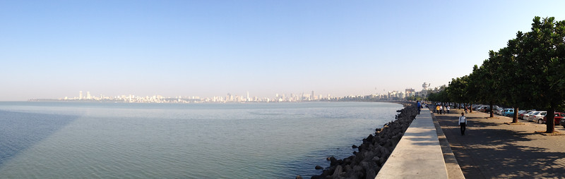 On our last day in Mumbai, the smog has cleared somewhat and I caught a nice pano of the bay and Marine Drive, from outside our hotel.