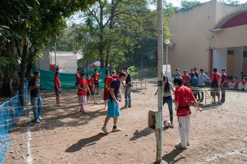 """At IIT Bombay, the students set up a """"human foosball"""" field, in which the players are clipped to ropes and can only slide side to side."""