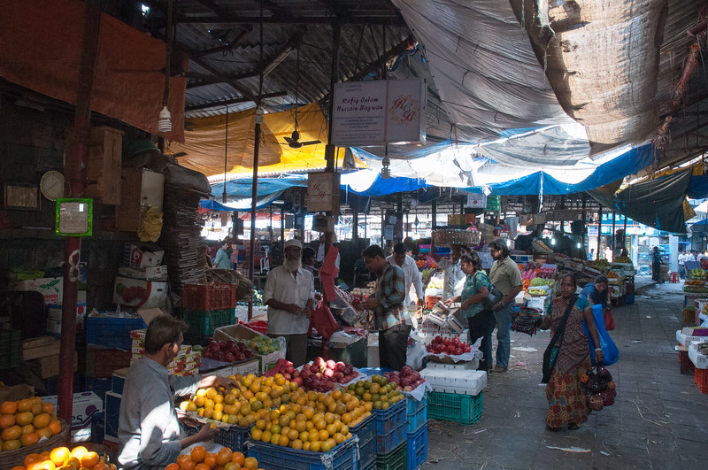 Crawford Market, South Mumbai; you can get every sort of fruit, veg, meat, spices, candy, housewares, and even pets.