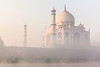 Taj Mahal. Sunrise from Yamuna River.