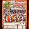 Jaipur<br /> <br /> Street view from one of the street level windows of the Hawa Mahal.