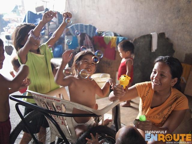 Street kids enjoying their bubbles