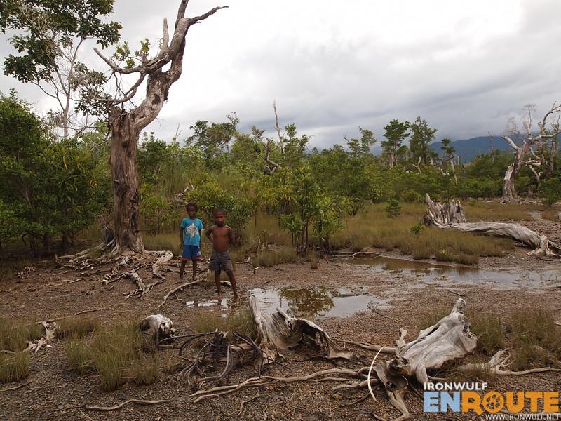 Some Dumagat kids at Dicatian mangrove forest