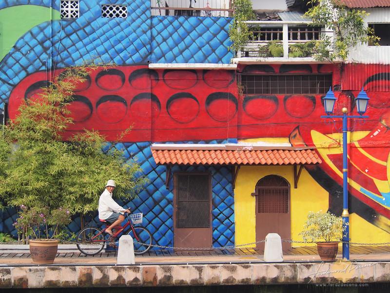 Colorful murals at Melaka Riverside