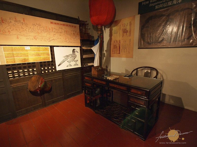 Replica of Cheng Ho's office with navigation maps and tools