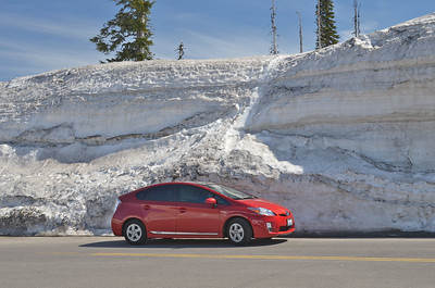 Our Prius with a snow wall for a background.