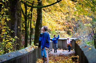 A family enjoys the Nisqually Wildlife Refuge in late October