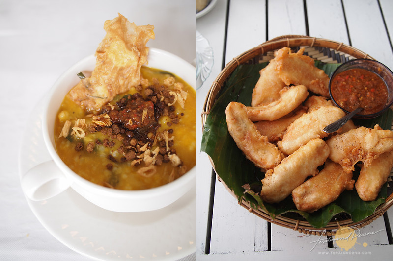 The local breakfast favorite Tinutuan (left), Sambal goes with everything here even with the pisang goreng (fried bananas on the right)