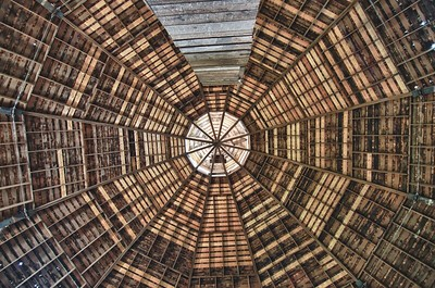 Inside the round barn looking up.