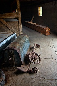 Tools and other items found inside the round barn.
