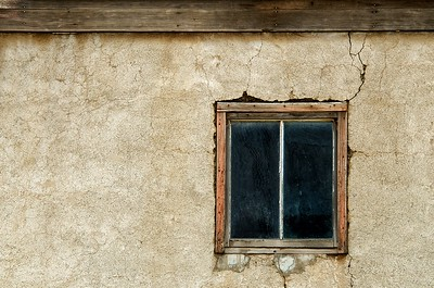 Window in an old farm building