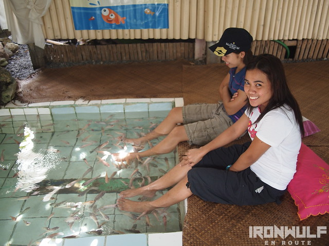 The locals enjoying the Fish Spa in Tibiao