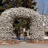 One of the Antler Arches in the Town Square.  Estimated to contain 2,000 antlers and weighing between 7,000 and 10,000 pounds.