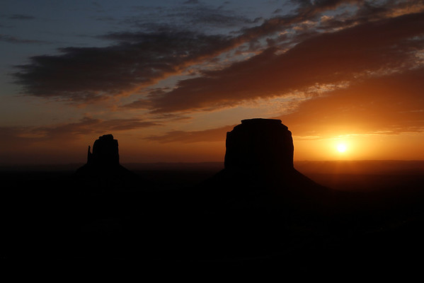 Sunrise on Merrick Butte and The East Mitten - February 26, 2012