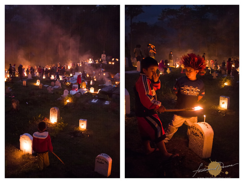 The cemetery lights up as night falls