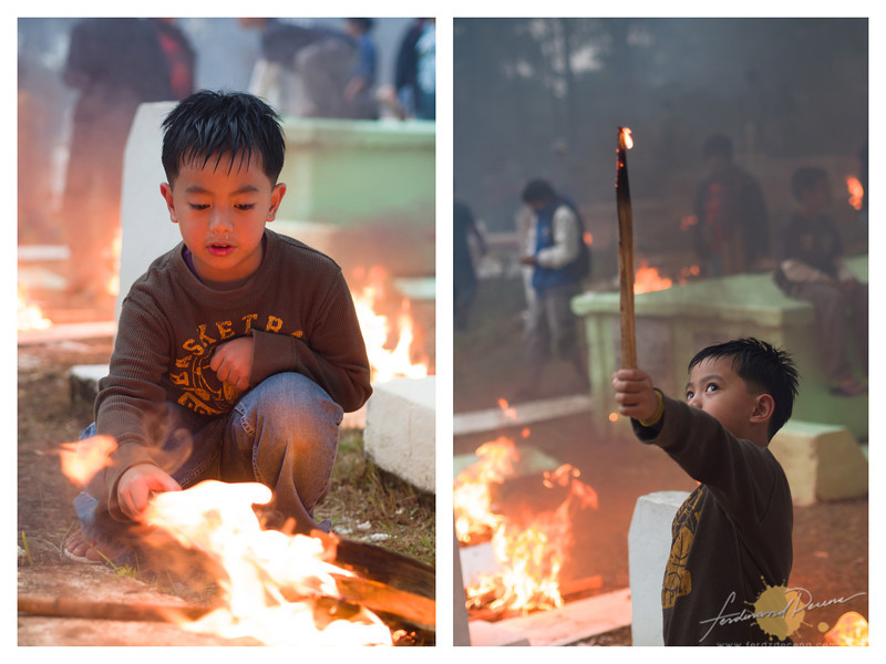 A kid burning saleng