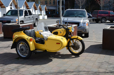 A cool motorcycle and sidecare parked at Roche Harbor.1