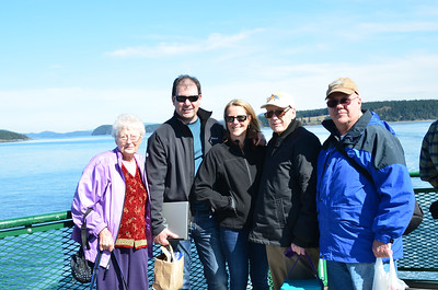 My family on the back of the ferry.  Doreen, Lee, Kim, Al and Dale.