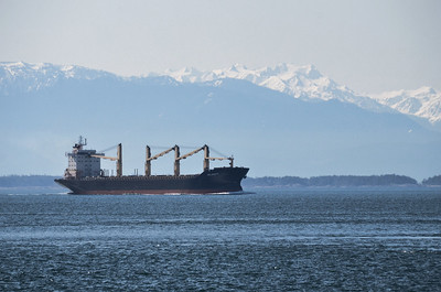 A freighter with the Olympic Mountains in the background.