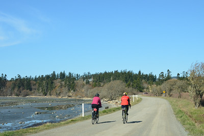 A couple bicyclists riding around False Bay on San Juan Island.