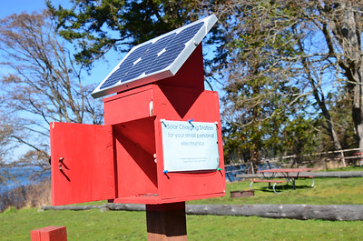 Cell phone charging station at the bike and kayak campground of San Juan Island County Park.