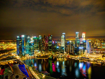 Alternate processing of Difficult handheld HDR from atop the Sky Garden in Singapore.